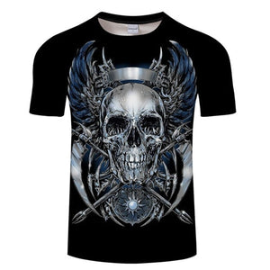 Open image in slideshow, White t shirt 3D Skull tshirt Men T-shirt Male Top Summer Tee Quality Camiseta Short Sleeve O-neck Hip Hop Drop ship ZOOTOPBEAR