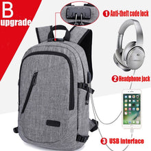SAFEBET 2018Multifunction Waterproof USB Charging Headset 16 inch Laptop Backpack Leisure Travel Anti Thief Password School Bag