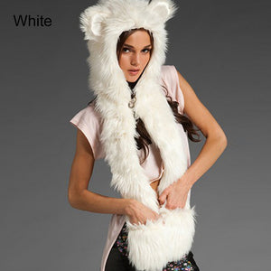 Open image in slideshow, Cartoon Animal style Faux Fur Hat Ear Flaps Hand Pockets Animal Hood Hat Wolf Plush Winter Warm Animal Cap with Scarf Gloves