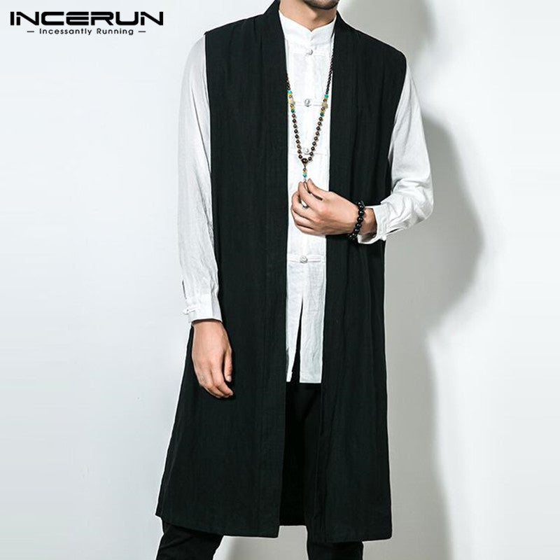 INCERUN Autumn Retro Men Cardigan Sleeveless Cotton Vest Long Jacket Trench Overcoat Robe Coat 5XL Hombre Men Clothes Outwear