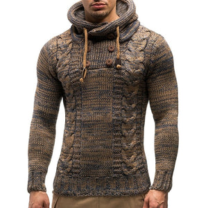NIBESSER Men's Sweater Autumn Winter Pullovers Knitted Coat Hooded Sweaters Jacket Outwear Casual Slim Fit Turtleneck Top