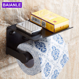 Toilet Paper Holder with Shelf Black Wall Mounted Mobile Phone Paper Towel Holder Decorative Bathroom Roll Paper Holder Creative