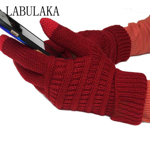 New 2018 Gloves Full Finger Guantes Knit Winter Warm CC Anti-Slip Ribbed Touch screen Smart Cellphone Finger Tips Mittens Gloves