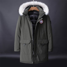 Dropshipping New Winter Jacket Men Thicken Warm Parkas Casual Long Outwear Hooded Collar Jackets and Coats Men White Parkas Jack