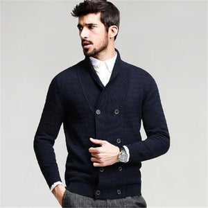 Open image in slideshow, Mens Sweater Long Sleeve Cardigan Males Pull style cardigan Clothings Fashion Thick warm Mohair Sweaters Men england style hot