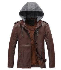 JIN JUE LES 2017 NEW Men's Leisure Motorcycle Leather Jacket Removable Hooded Real Leather Jackets Winter Coat Men