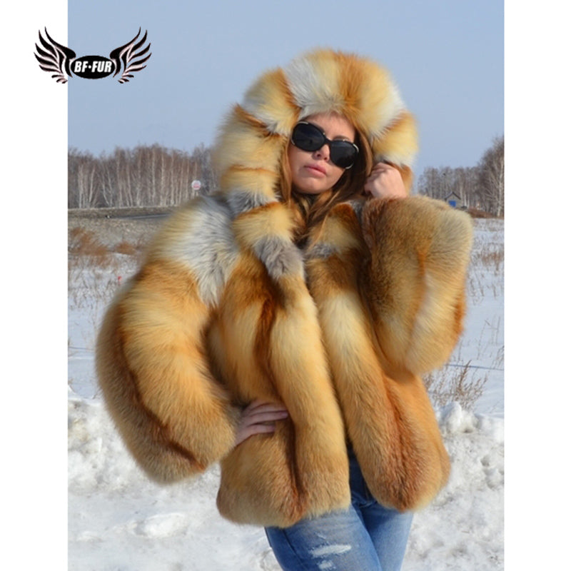 BFFUR Fashion Clothing 2018 New Real Natural Red Fox Fur Coats For Women Winter Sale Full Pelt Leather Jacket Female Plus Size