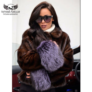 Tatyana 2018 New Coming Short Type Real Mink Fur Coat For Women Lapel Light Cool Girl Fur Outwear Winter Warm Thick Fur Jackets