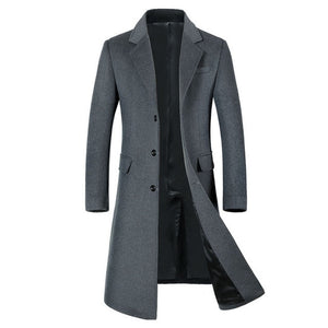 SHANBAO winter thick warm men's brand wool coat luxury high quality business casual long single-breasted slim wool jacket
