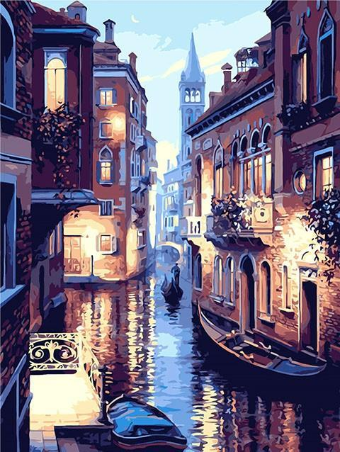 Paint By Numbers - DIY Venice Night waters  CanvasShow Kit