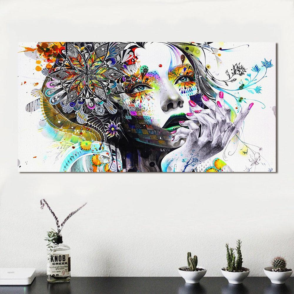 HD Printed Girl With FLowers CanvasShow Painting Lifestyle Space Pebble