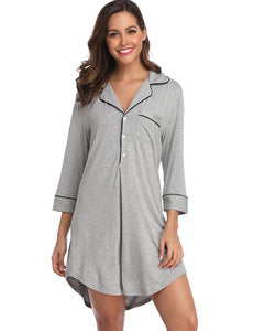 9583e77ad5 Lusofie Nightgown Women s Long Sleeve Nightshirt Boyfriend Sleep Shirt  Button-up Lapel Collar Sleepwear