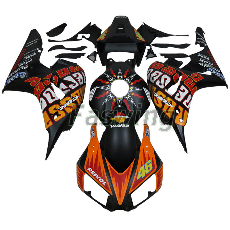 Fairings for Honda CBR1000RR 2006-2007 Black Orange Valentino Rossi Racing