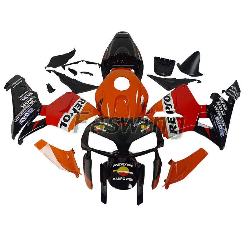 Fairings for Honda CBR600RR 2005-2006 Black Orange Repsol Racing