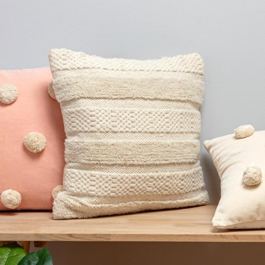 White Tassel Square Cushion - Alaynashome