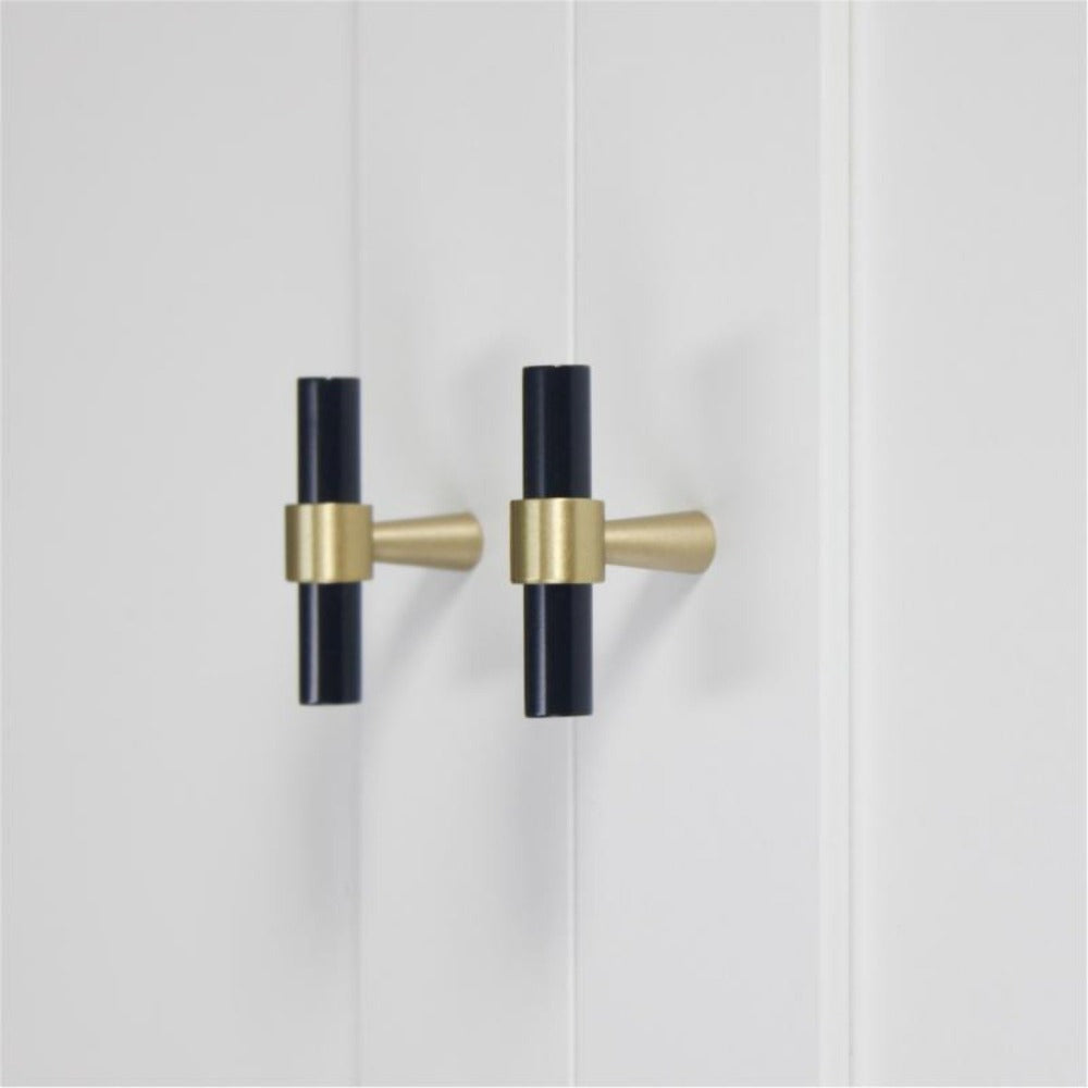 Matte Black and Brass Drawer Pull - Alaynashome