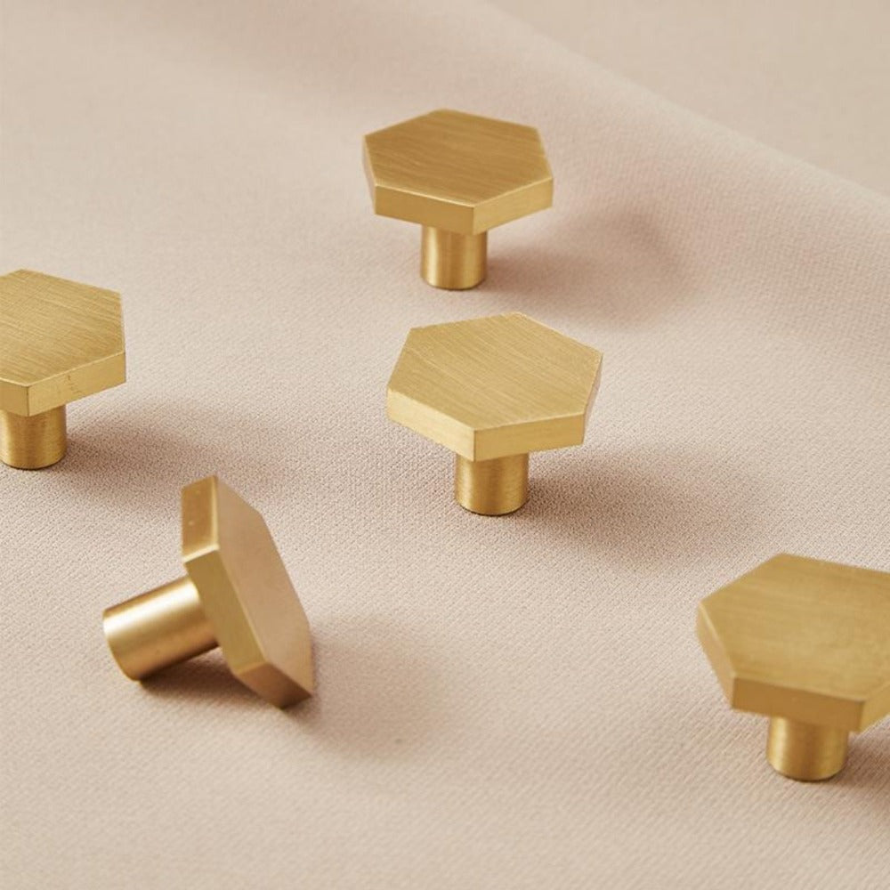 Solid Brass Hexagonal Drawer Knob - Alaynashome