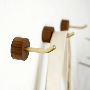 Walnut and Brass Wall Hanging Hook (Set of 3) - Alaynashome