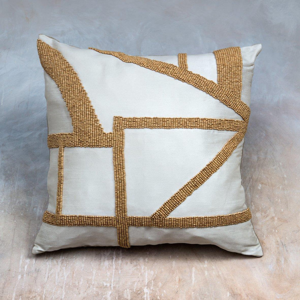 Wood Beaded Cushion - Alaynashome