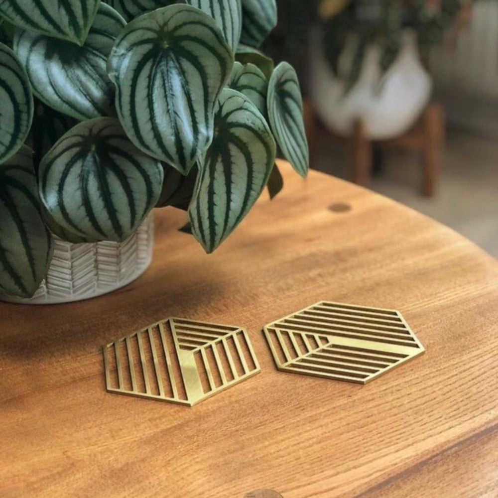Hexagonal Solid Brass Drink Coaster - Alaynashome