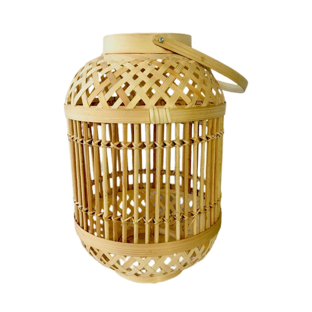 Natural Latticed Bamboo Lantern - Alaynashome