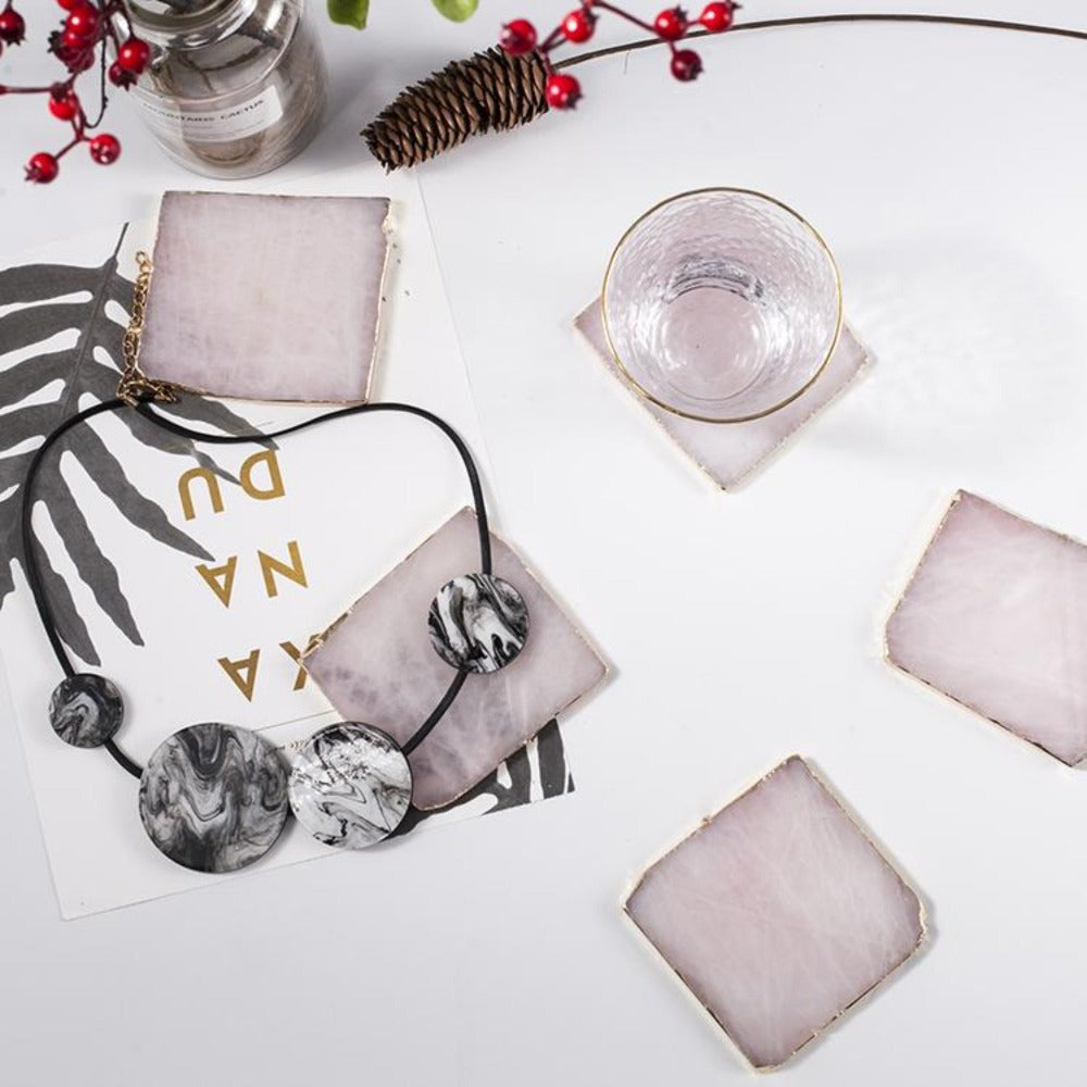 Rose Quartz Crystal Square Agate Coasters (Set of 2) - Alaynashome