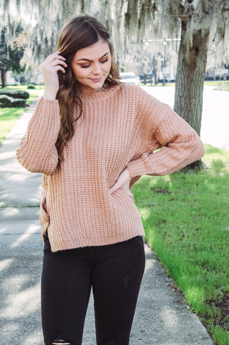 Red Bean Cable Knit Sweater