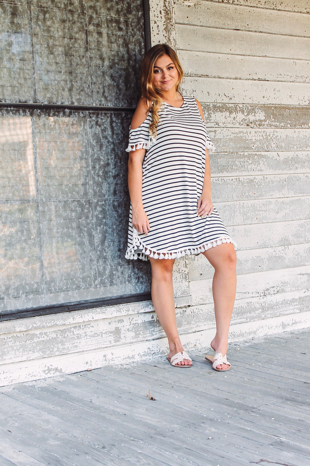Striped Tassel Dress