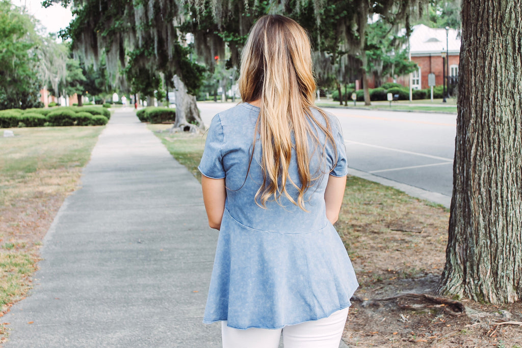 Mineral Blue Washed Blouse
