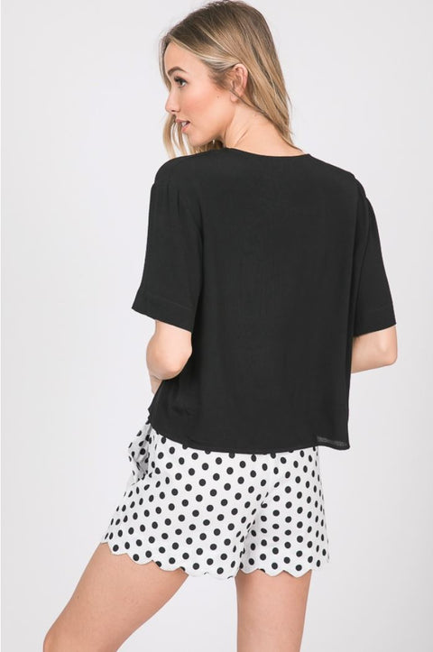 The Finley Black Button Up Top