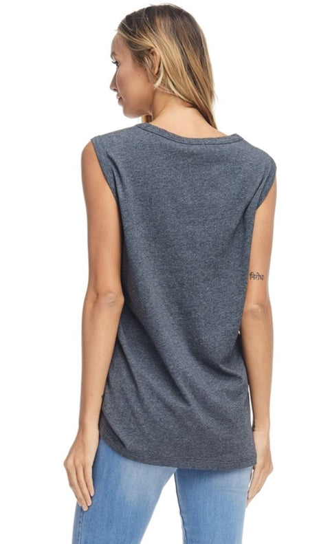 Women's mountains are calling muscle tank top in charcoal color.