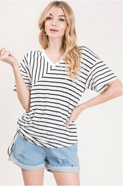 The Frankie Striped Side Tie Top