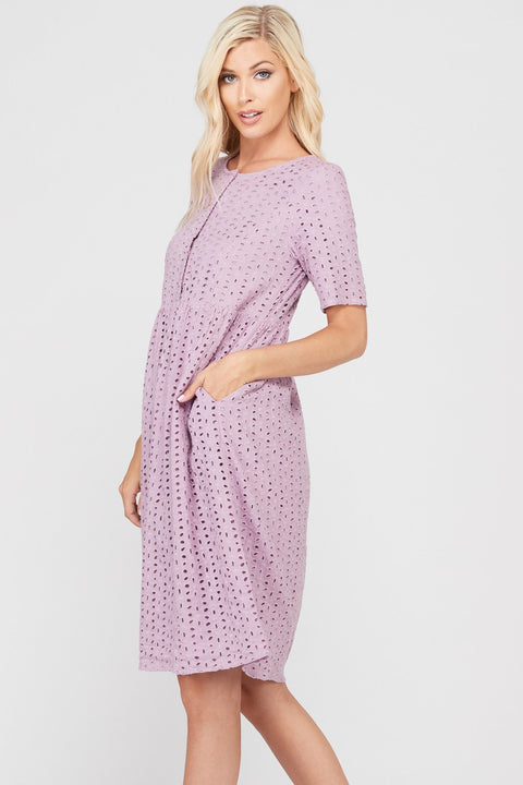 mauve eyelet lace dress with pockets