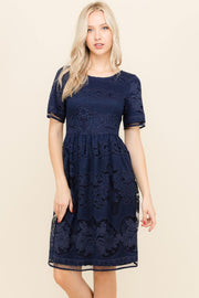 Navy colored lace midi dress.