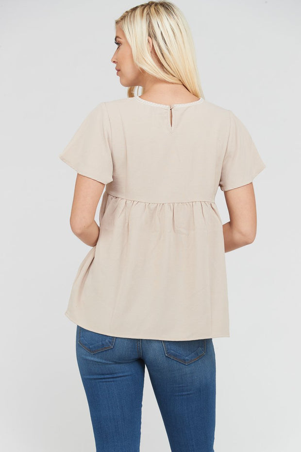 The Anais Babydoll Embroidery Top