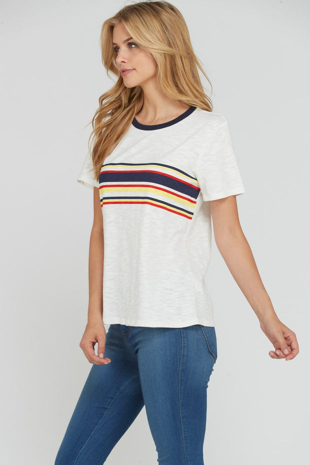 Multi-colored striped women's t-shirt with round neck.