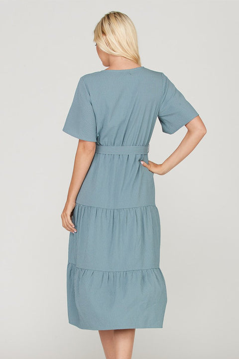Grey and blue striped midi dress with waist tie.