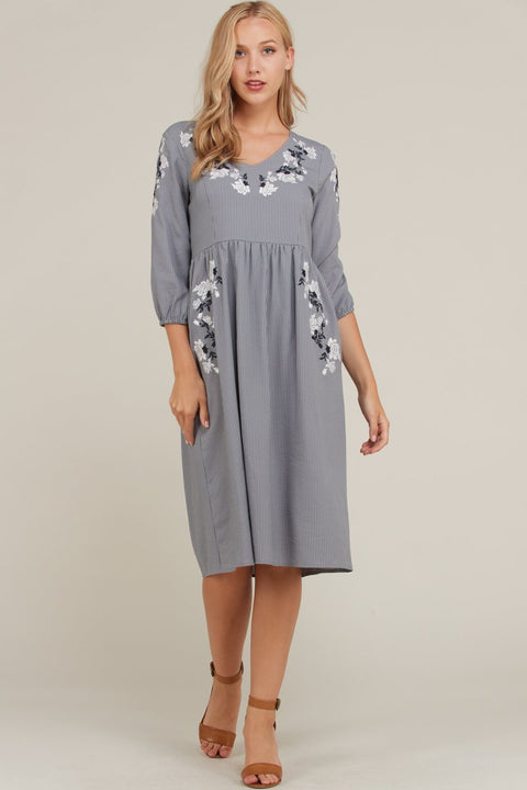 The Cleo Floral Embroidery Sleeve Dress