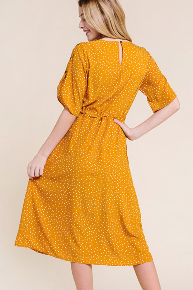 Polka dot mustard Midi Dress with pockets and Tulip Sleeve
