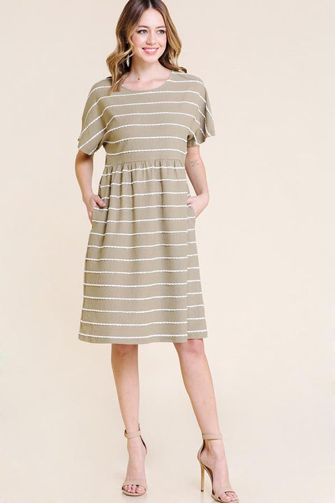 The Ivy Stripe Scallop Detail Dress