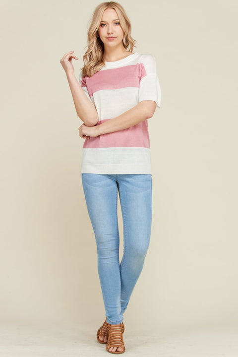 The Lola Pink Color Block Short Sleeve Sweater