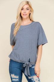 Short sleeve navy striped bottom tie top.