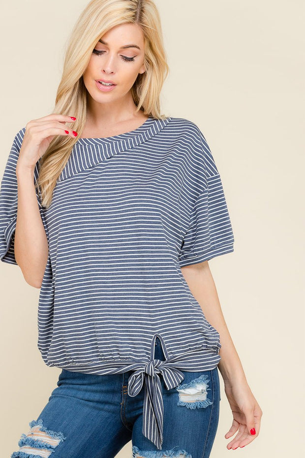 The Maisie Stripe Bottom Tie Top
