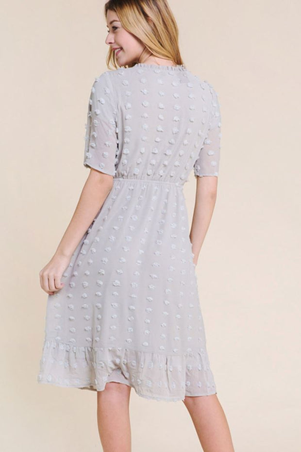 The Odette Grey Swiss Dot Midi Dress