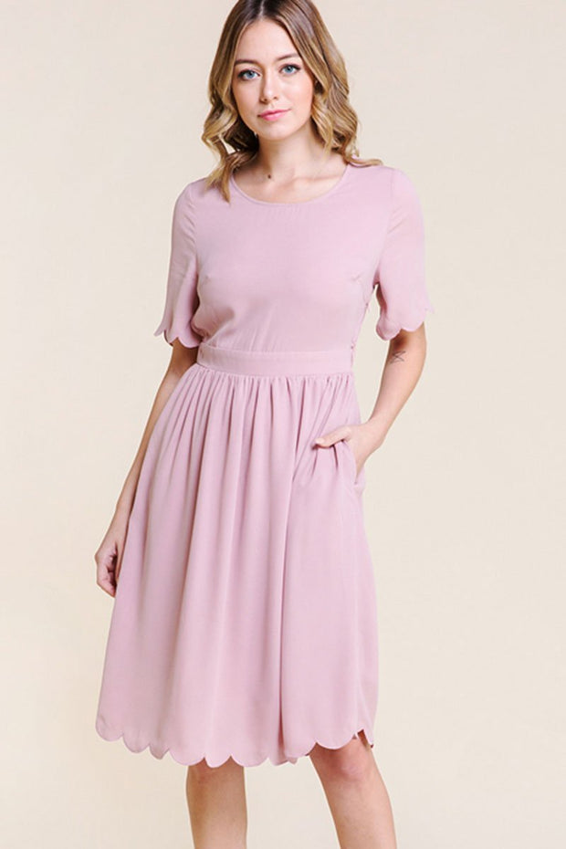 Short sleeve Blush colored midi dress with pockets