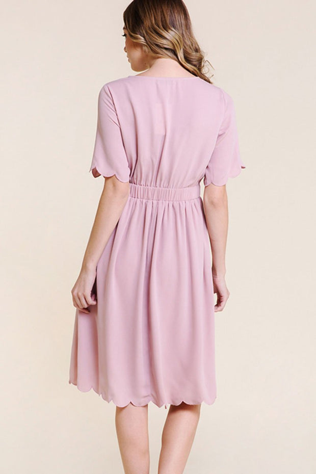 The Penelope Scallop Edge Midi Dress