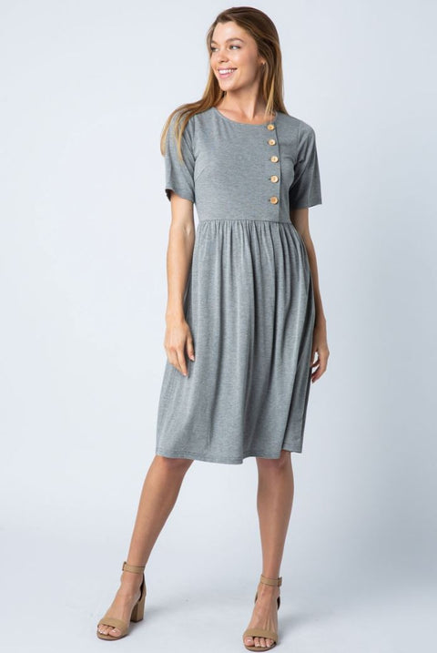 Grey nursing friendly button up midi dress