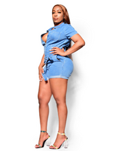 Load image into Gallery viewer, How I'm feeling- denim romper - Khoris Kloset