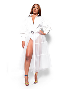 About my business- Button up long sleeve white tulle shirt - Khoris Kloset