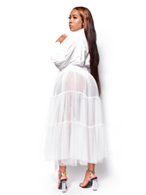 Load image into Gallery viewer, About my business- Button up long sleeve white tulle shirt - Khoris Kloset